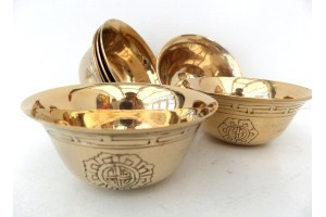 6 cm Brass Engraved Offering bowls