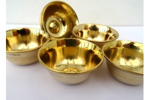 6 cm Plain brass offering bowls