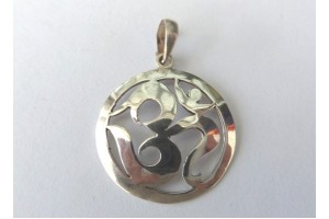 Silver Om in Circle