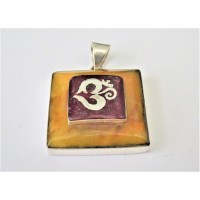 Silver Om pendant in amber