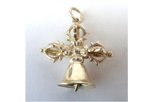 Silver plated double dorge/bell pendant