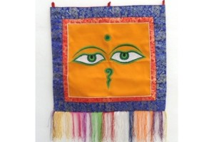 Embroidered Buddha Eyes wallhanging
