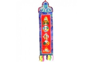 Embroidered Buddhist symbols wallhanging