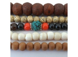 Bone, Bodhi Seed, and Sandalwood Malas
