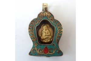 Antique effect brass Buddha in shrine pendant