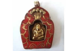 Red Coral coloured Buddha Shrine Amulet