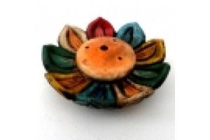 Hand painted clay incense burner