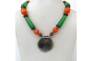 Chunky Tibetan necklace with large white metal pendant
