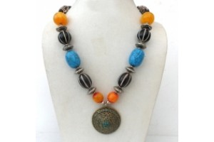 Chunky Tibetan necklace with large brass and Turquoise pendant