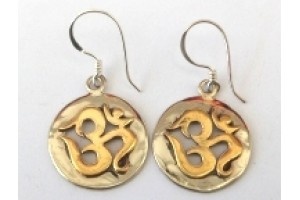 Brass and White metal Om earrings