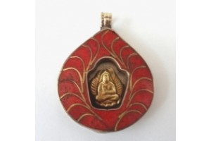 Brass Buddha Shrine Amulet in Red Coral colour