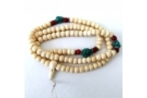 White bone mala with turquoise