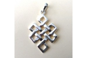 Silver plated white metal eternal knot pendant